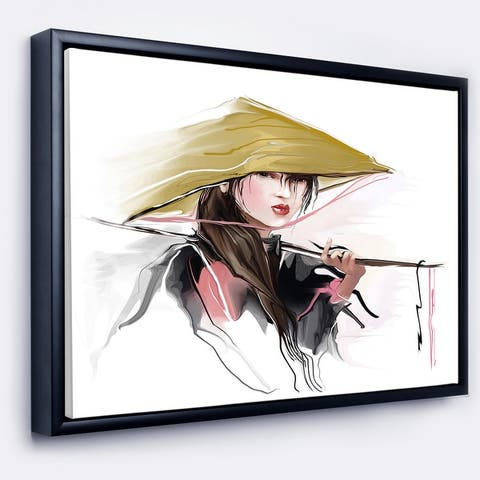 Designart 'Vietnamese Woman' Digital Art Portrait Framed Canvas Print