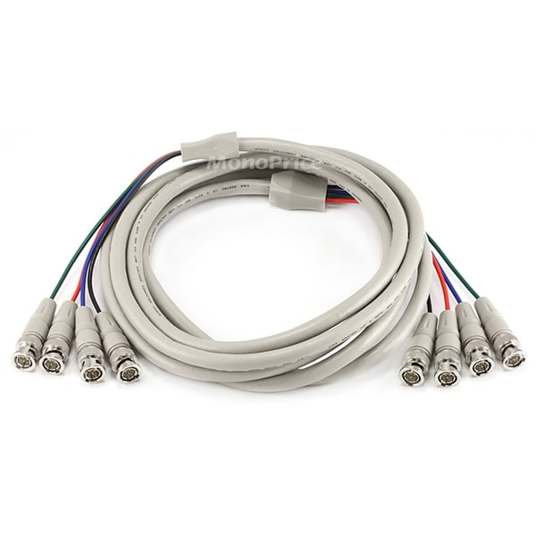 Monoprice 10ft 4x BNC Male to 4x BNC Male Cable - White