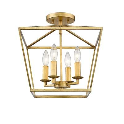 Mini Lantern Ceiling Light and Pendant in Gold