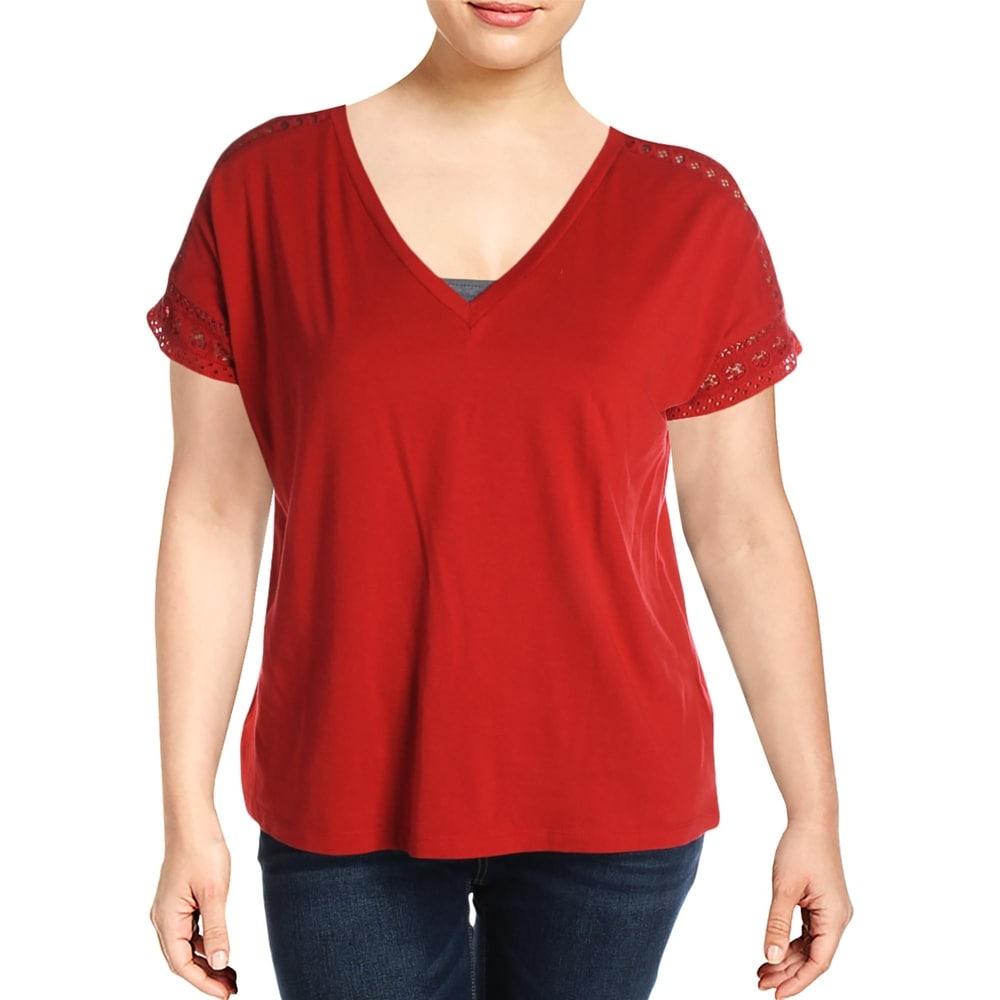 Lauren Ralph Lauren Womens Plus T-Shirt Lace Trim V-Neck - Red by  2020 Coupon