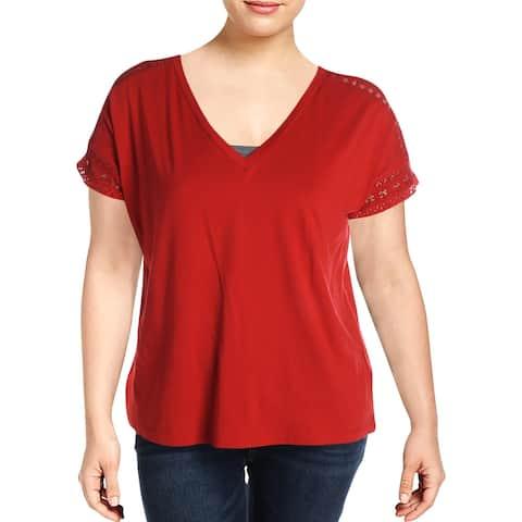 Lauren Ralph Lauren Womens Plus T-Shirt Lace Trim V-Neck - Red