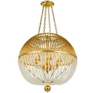"Crystorama Lighting Group DUV-626  Duval 6 Light 21"" Wide Beaded Globe Chandelier - Antique Gold"