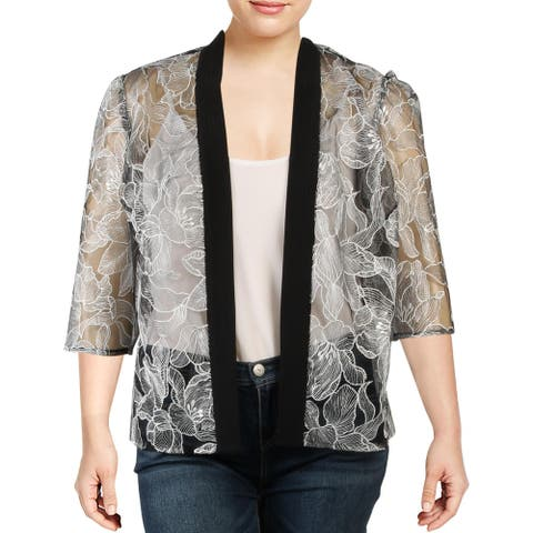 Alex Evenings Womens Plus Jacket Lace Sheer - Black-White