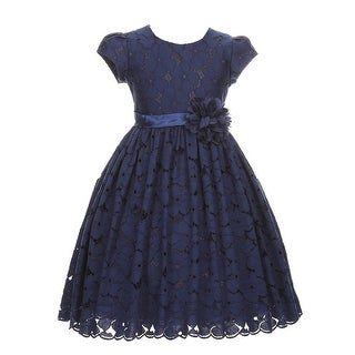 Good Girl Little Girls Navy Cotton Embroidered Flower Girl Dress