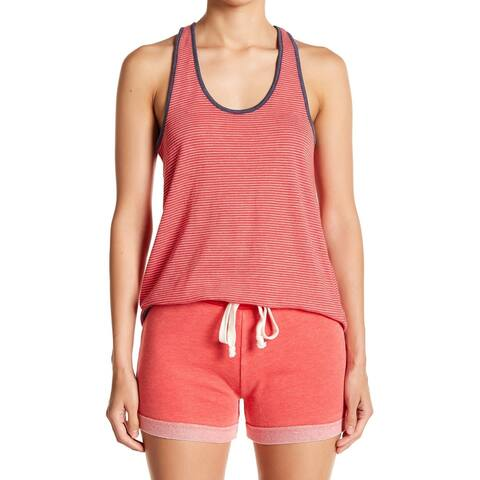 Alternative Red Women Size Medium M Striped Hi-Lo Racerback Tank Top