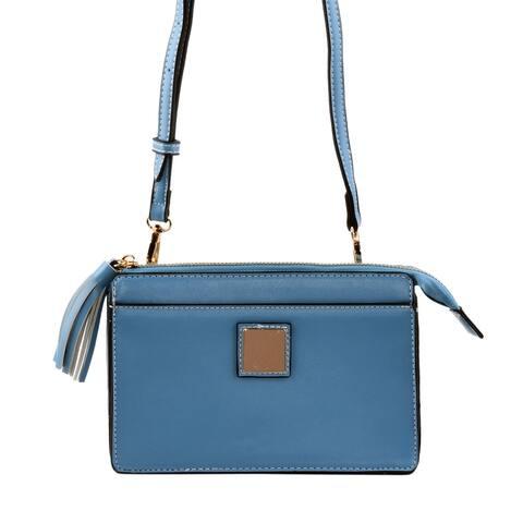 Blue Faux Leather RFID Crossbody Bag or Waist Bag with Shoulder Strap