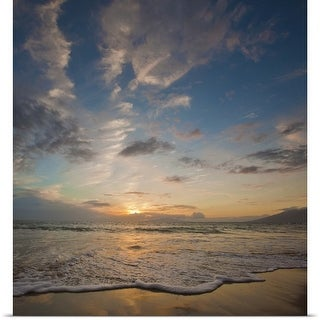 Poster Print entitled Sunset over ocean waves at beach
