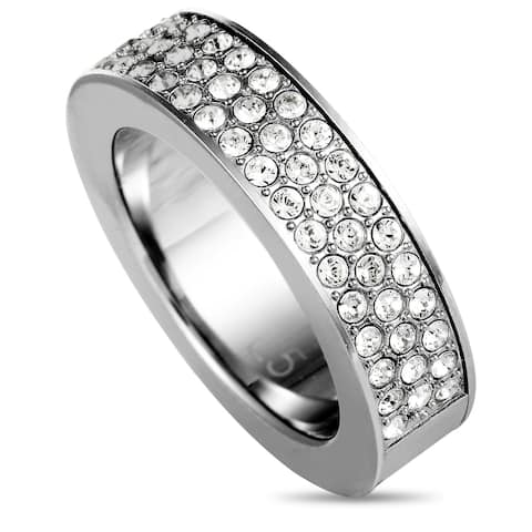 Calvin Klein Hook Stainless Steel and White Rock Crystal Ring Size 5