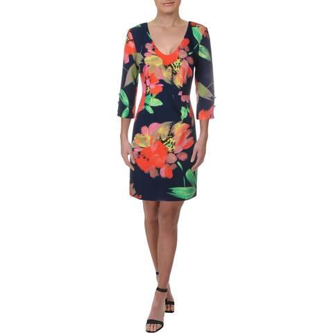 Trina Turk Womens Wear to Work Dress Floral Print V-Neck - Navy Multi - 4