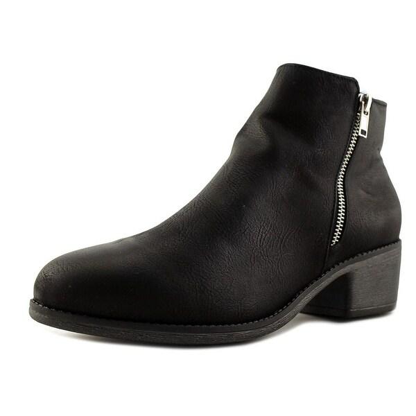 Seven Dials Yara Women Round Toe Leather Black Bootie