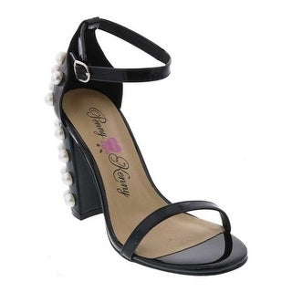 Penny Loves Kenny Women's Ruche Ankle Strap Sandal Black Patent