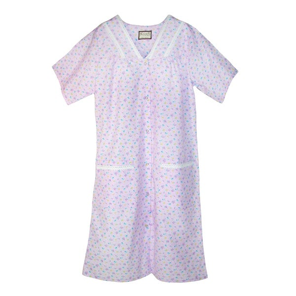 Ten West Apparel Womens Snap Front Short Sleeve Duster Robe