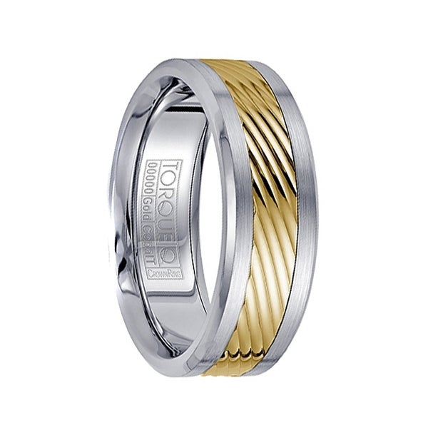 Cobalt Men's Wedding Band Polished Grooved 14k Yellow Gold Inlaid Brushed Edges by Crown Ring - 7.5mm