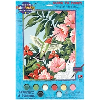 "Paint Works Paint By Number Kit 9""X12""-Hummingbird & Fuchsias"