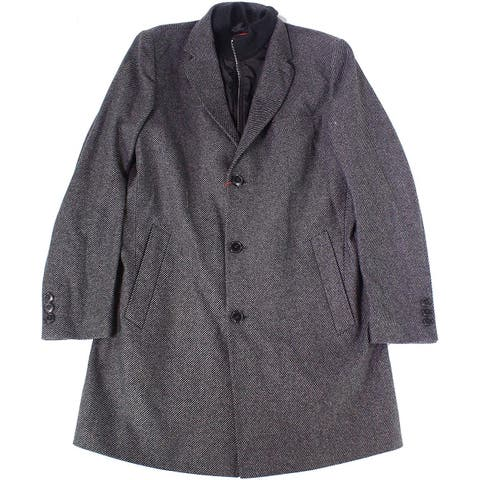 Hugo Boss Mens Coat Gray Size 48R Button Front Layered Look Notch
