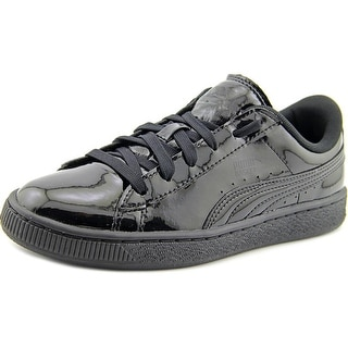 Puma Basket Classic Patent Jr Youth Round Toe Synthetic Black Sneakers