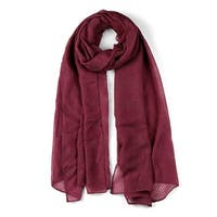Hollow Long Solid Color Wrap Cotton Linen Scarf Shawl For Women Burgundy