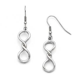 Chisel Stainless Steel Polished Infinity Symbol Shepherd Hook Earrings