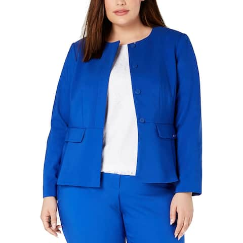 Calvin Klein Women's Blue Size 16W Plus Peplum Button Front Jacket