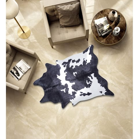 Rio Collection Black/White Faux Cowhide Printed Rug
