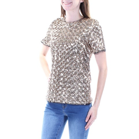 Womens Gold Short Sleeve Jewel Neck Party Top Size 2XS