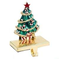 "7.25"" Shiny Metallic Decorated Christmas Tree Stocking Holder - green"