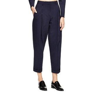 DKNY Womens Trouser Pants Wool Blend Pinstripe