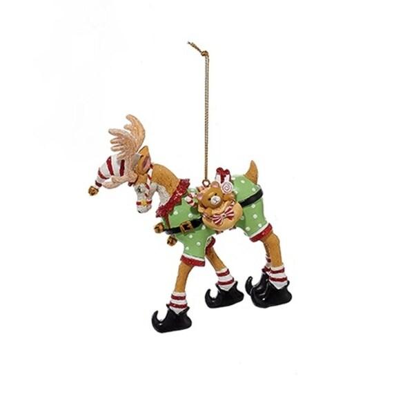 "4.75"" Polar Prancers Reindeer with Gift Bag in Elf Suit Christmas Ornament"