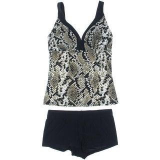 Moonbasa Womens Snake Print Boy Shorts Tankini Swimsuit - L