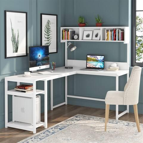 68 Inches Corner Computer Desk, L-Shaped Desk with Hutch