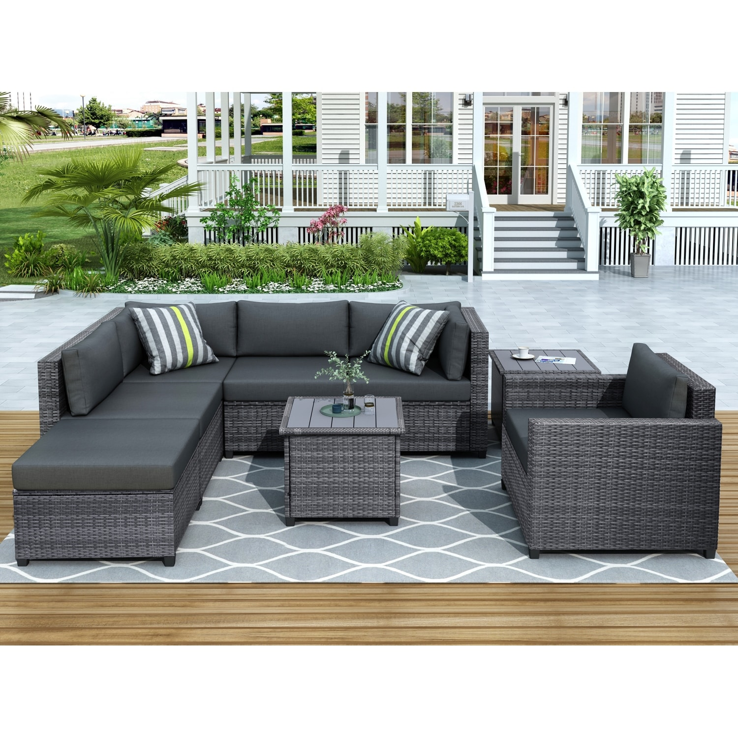 8 Piece Rattan Sectional Seating Group With Cushions Overstock 32013188