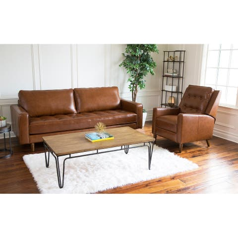 Abbyson Holloway Mid Century Leather Sofa and Recliner Set