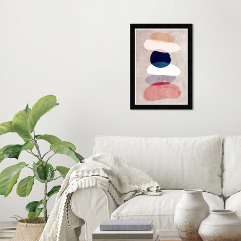 Wynwood Studio 'Geo Stack' Abstract Wall Art Framed Print Shapes - Brown, Pink