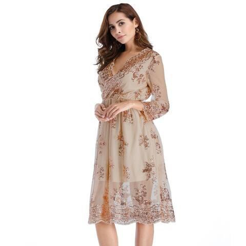 New Sexy V-Neck Big Pendulum Sequined Lace Dress