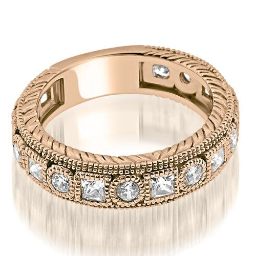 1.00 cttw. 14K Rose Gold Antique Round Princess Bezel Diamond Eternity Ring