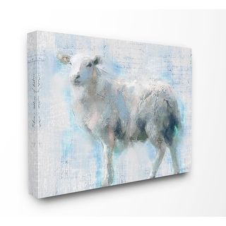 Stupell Industries Sheep Walk Blue Pink Textured Animal Painting Canvas Wall Art
