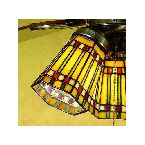 Meyda Tiffany 27463 Stained Glass / Tiffany Fan Light Kit Glassware from the Prairie Corn Collection