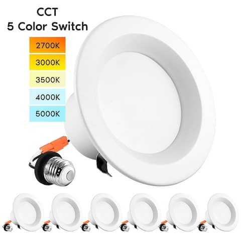 """Luxrite 4"""" LED Recessed Can Lights, Color Selectable 2700K 3000K 3500K 4000K 5000K, Dimmable, 750 Lumens, 6-Pack"""