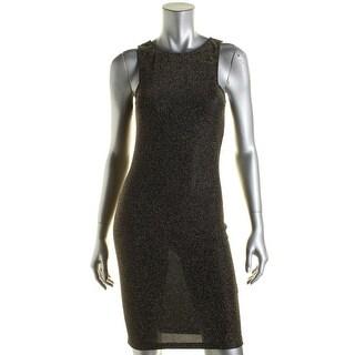 Aqua Womens Metallic Textured Cocktail Dress - L