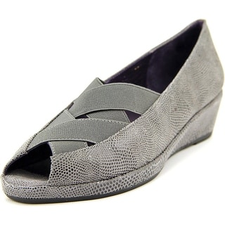 Vaneli uu Women Peep-Toe Leather Flats