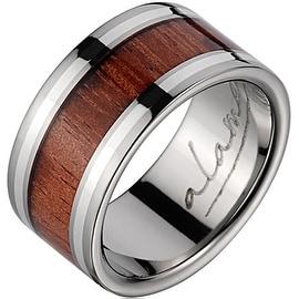 Titanium Wedding Band With Koa Wood Inlay & Silver Inlays 10mm