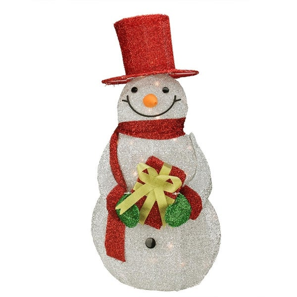 """32"""" Lighted Silver Tinsel Snowman with Gift Christmas Outdoor Decoration - RED"""