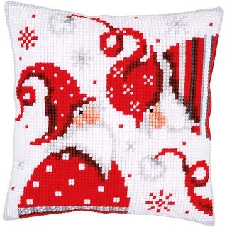 """Christmas Gnomes I - Vervaco Cushion Counted Cross Stitch Kit 16""""X16"""""""