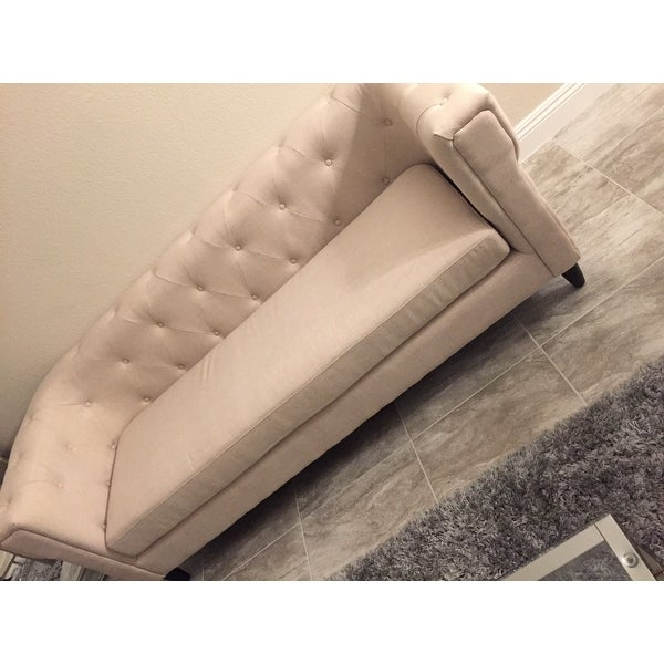 Baxton Studio Beige Linen Chesterfield Sofa   Free Shipping Today    Overstock.com   14794406