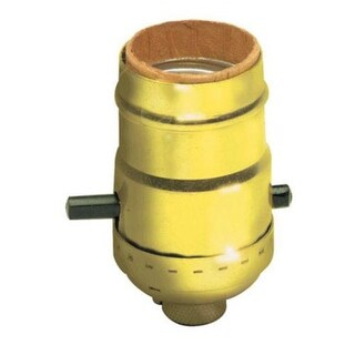 Leviton C20-06098-0PG Push Button Lamp Socket, Brass