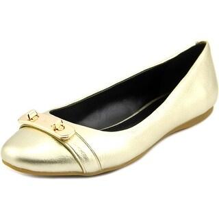 Coach Merilyn Women Round Toe Leather Gold Flats