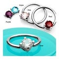 """Surgical Steel Capitve Bead Ring With Solitaire CZ Stone - 14GA 1/2"""" Long (Sold Ind.) - Thumbnail 0"""