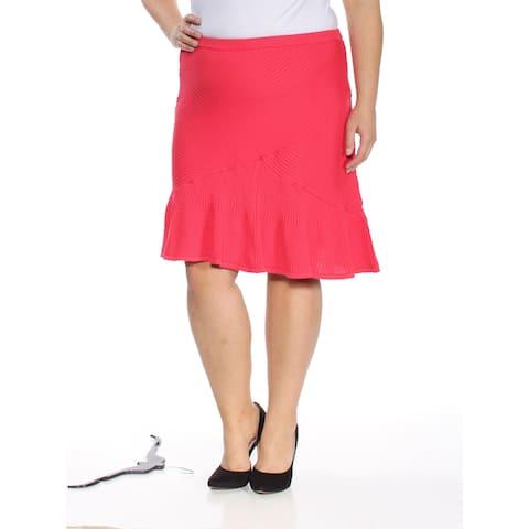 RACHEL ROY Womens Coral Ruffled Textured Knee Length Skirt Size: XXL