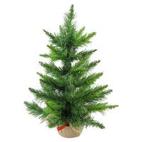 "18"" Mini Balsam Pine Artificial Christmas Tree in Burlap Base - Unlit - green"