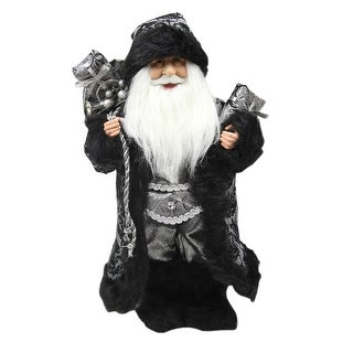 """16"""" Standing Santa Claus in Silver and Black with Gifts Christmas Figure"""
